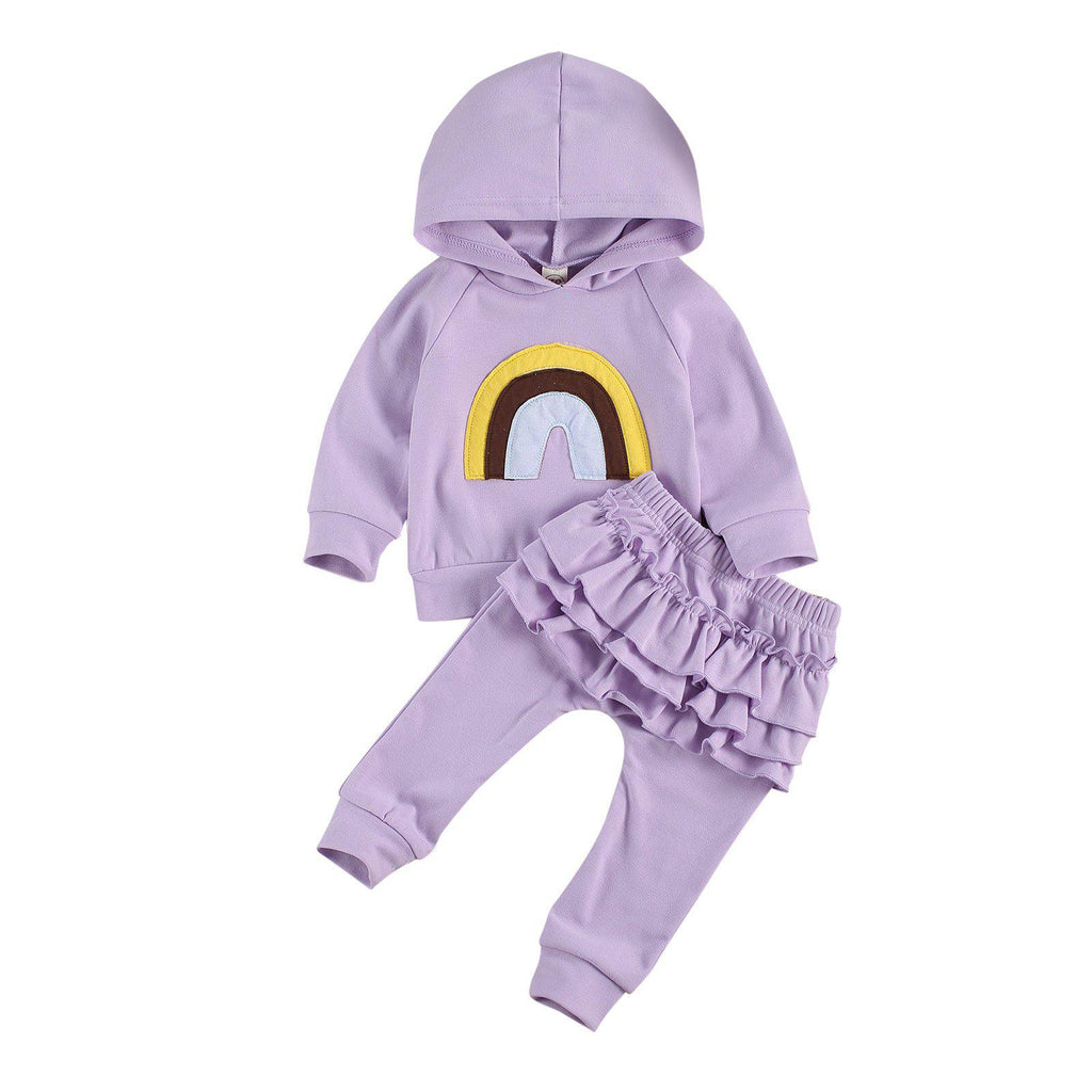 Rainbow Hooded Ruffle Set - Purple