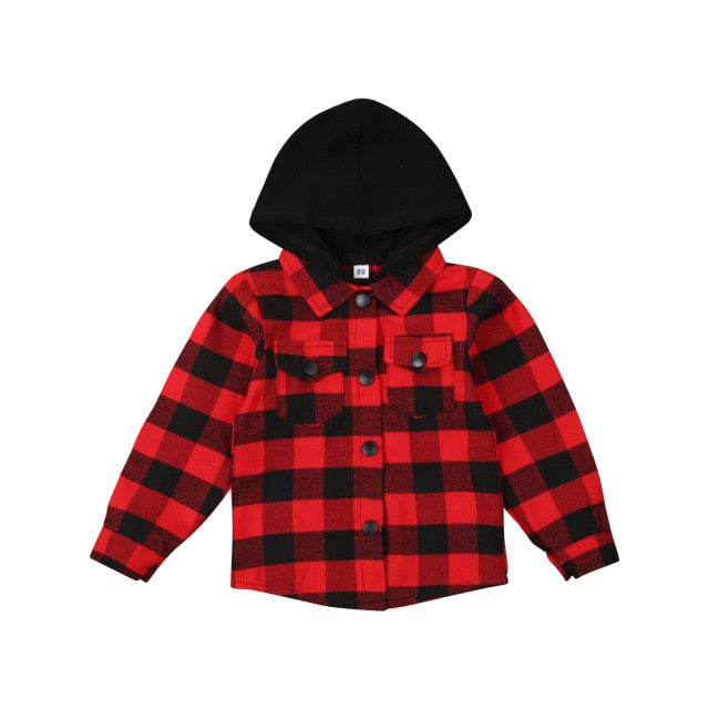 Hooded Flannelette Shirt - Red