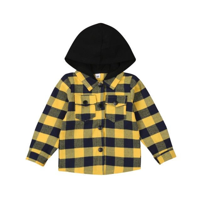 Hooded Flannelette Shirt - Yellow