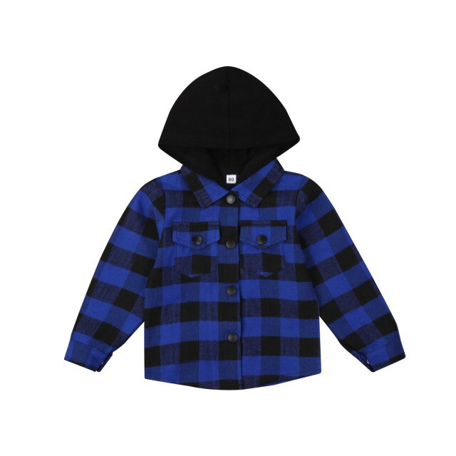 Hooded Flannelette Shirt - Blue