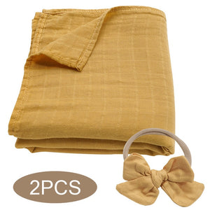 Bamboo Cotton Muslin Wrap Set - Mustard