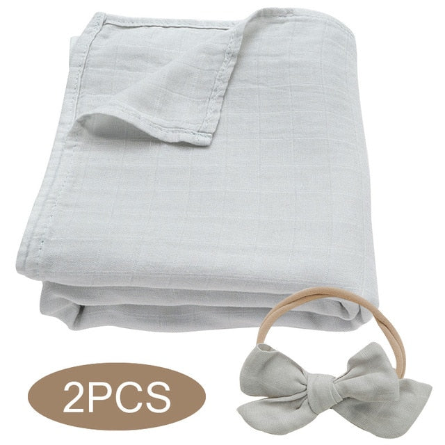 Bamboo Cotton Muslin Wrap Set - Light Grey
