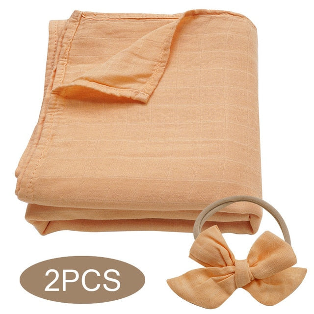 Bamboo Cotton Muslin Wrap Set - Orange