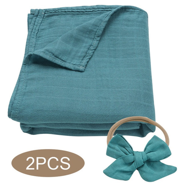 Bamboo Cotton Muslin Wrap + Bow - Teal