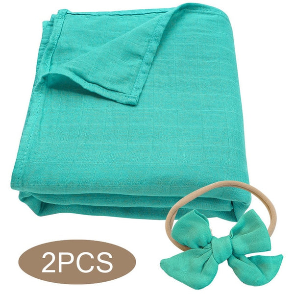 Bamboo Cotton Muslin Wrap + Bow - Turquoise
