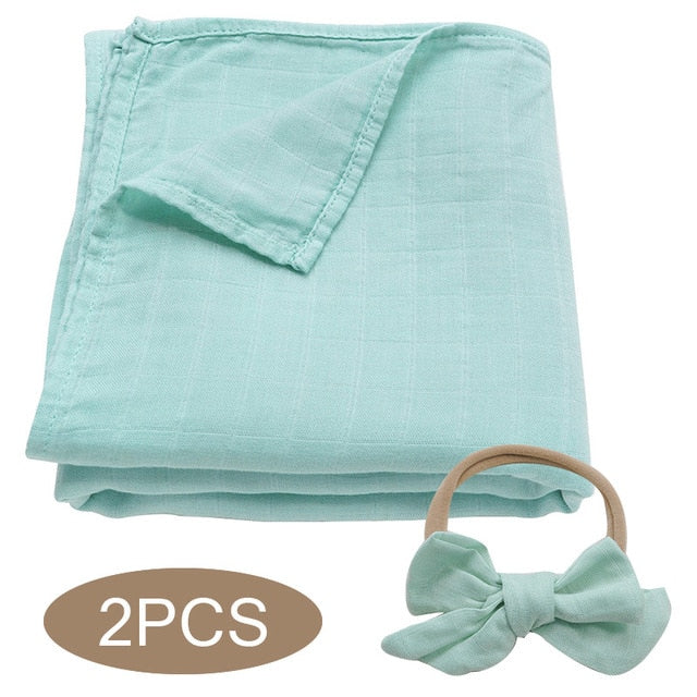 Bamboo Cotton Muslin Wrap Set - Light Green