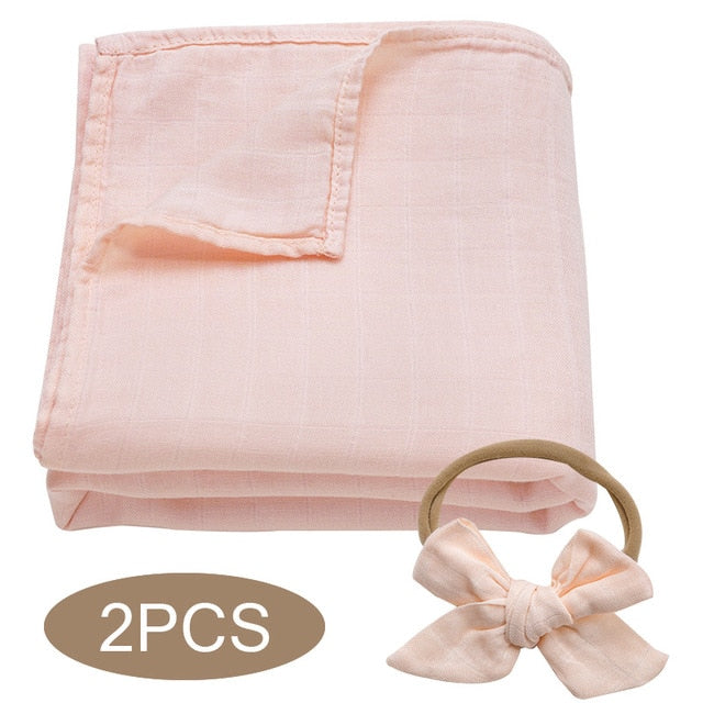 Bamboo Cotton Muslin Wrap Set - Peach
