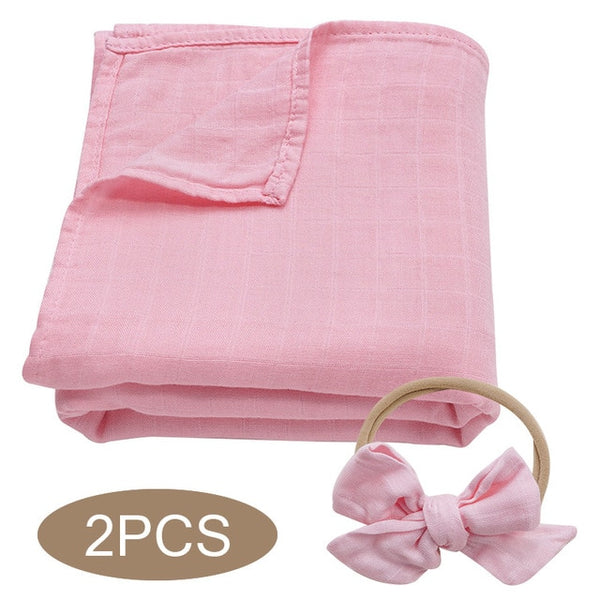 Bamboo Cotton Muslin Wrap + Bow - Pink