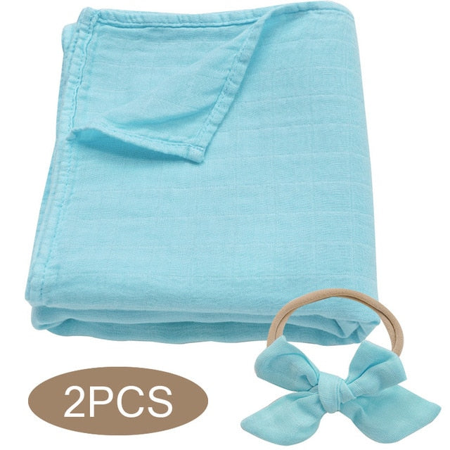 Bamboo Cotton Muslin Wrap Set - Sky Blue