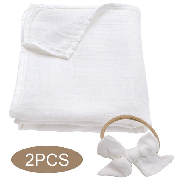 Bamboo Cotton Muslin Wrap + Bow - White