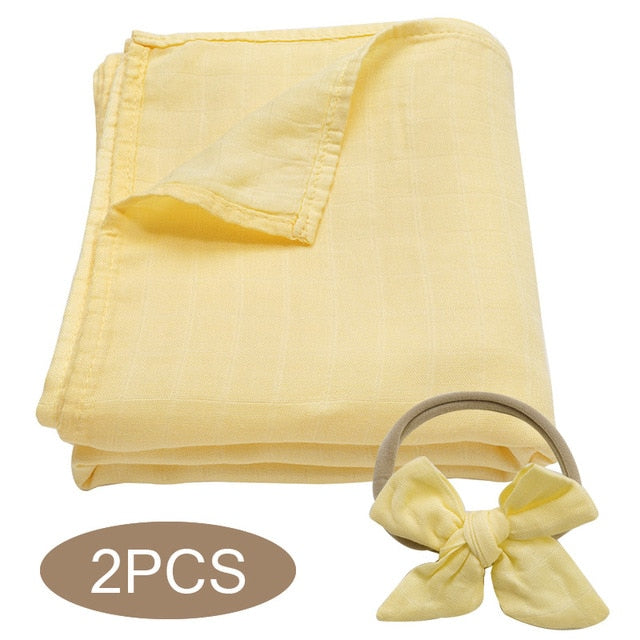 Bamboo Cotton Muslin Wrap Set - Yellow