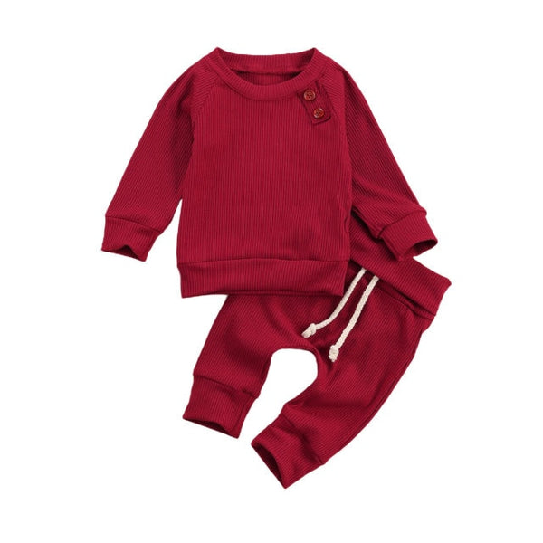 Basic Button Crew Set - Red