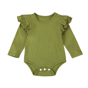 Long Sleeve Flutter Bodysuit - Green