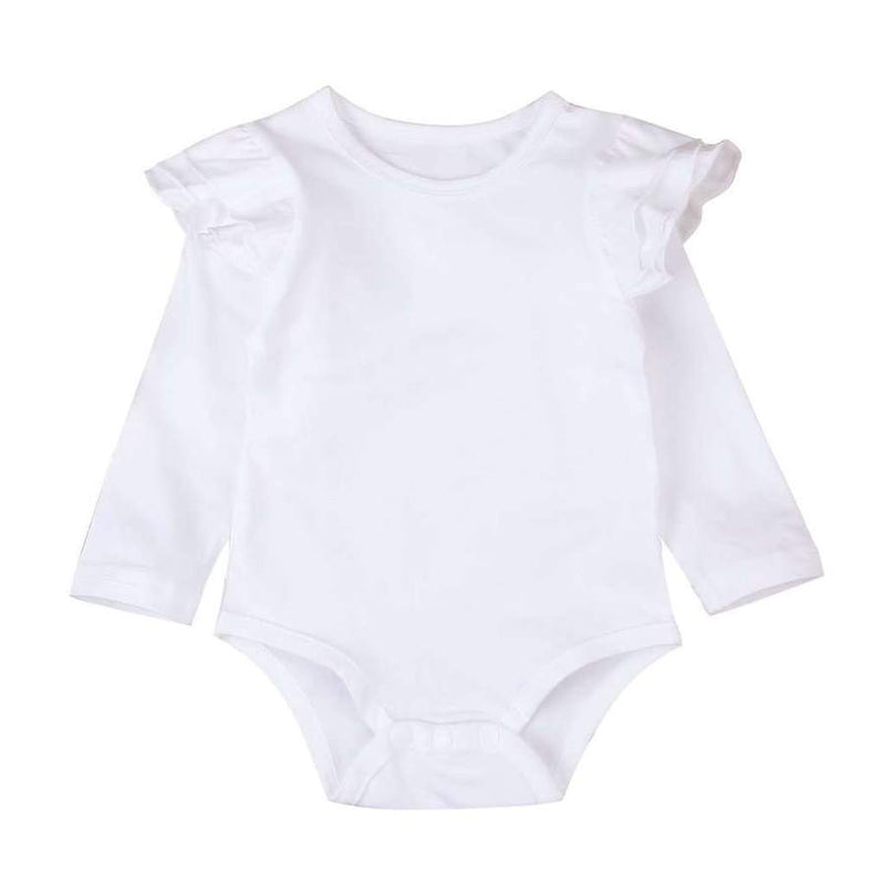 Long Sleeve Flutter Bodysuit - White
