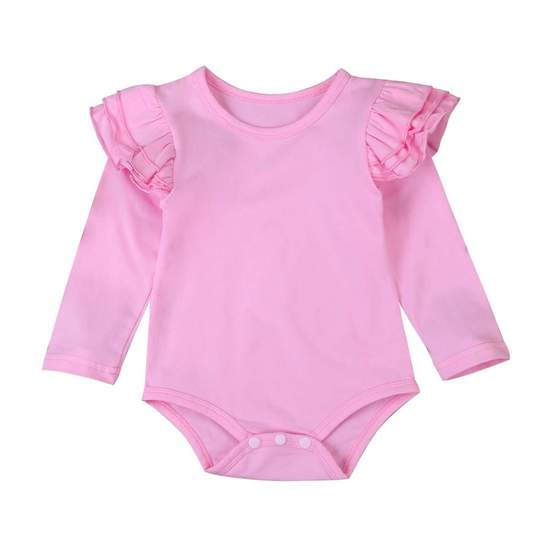 Long Sleeve Flutter Bodysuit - Pink
