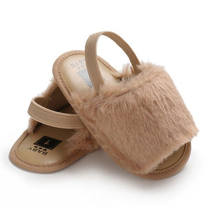 Fluffy Slides - Beige