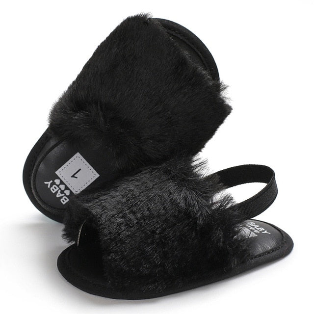 Fluffy Slides - Black