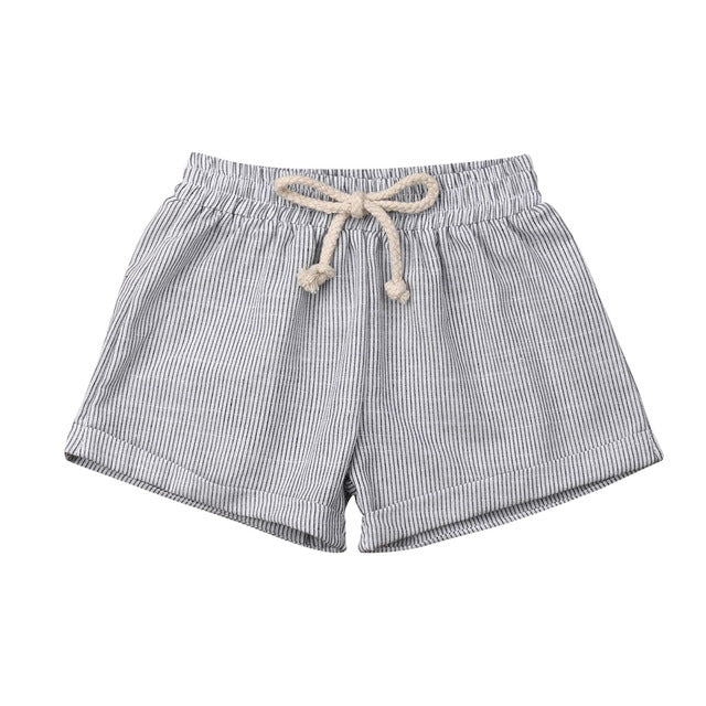Basics Cotton Shorts - Grey Stripe