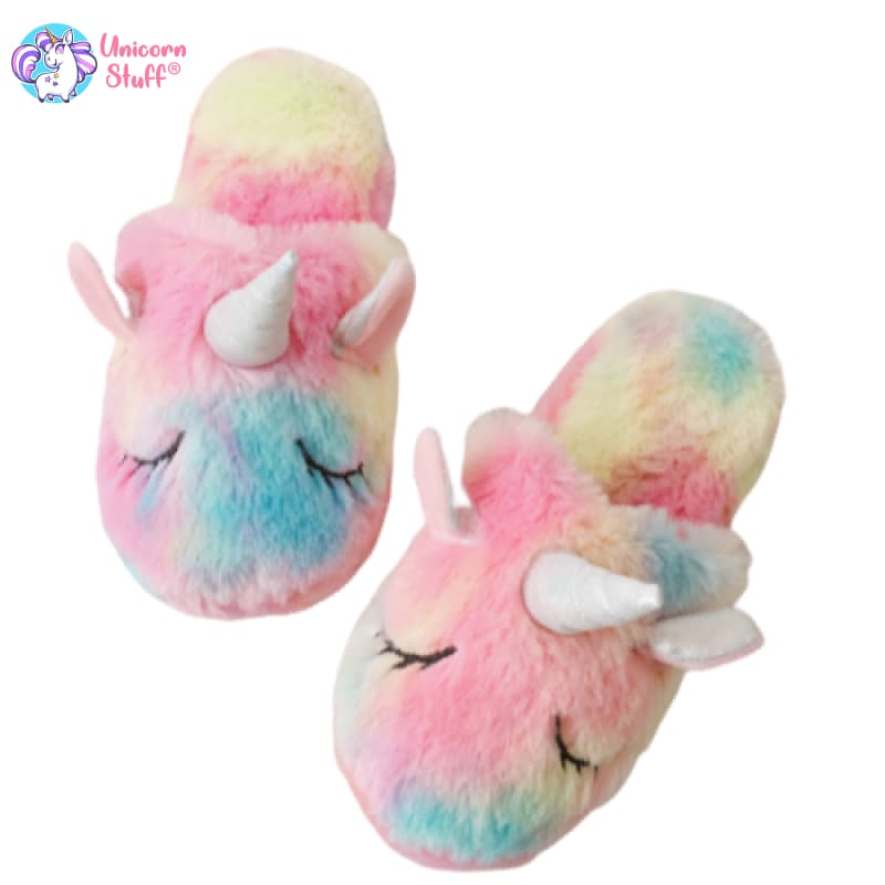 faux fur unicorn slippers