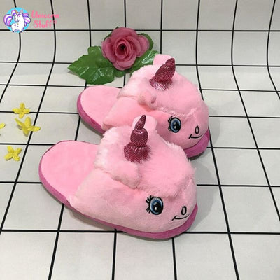 pink fluffy unicorn slippers