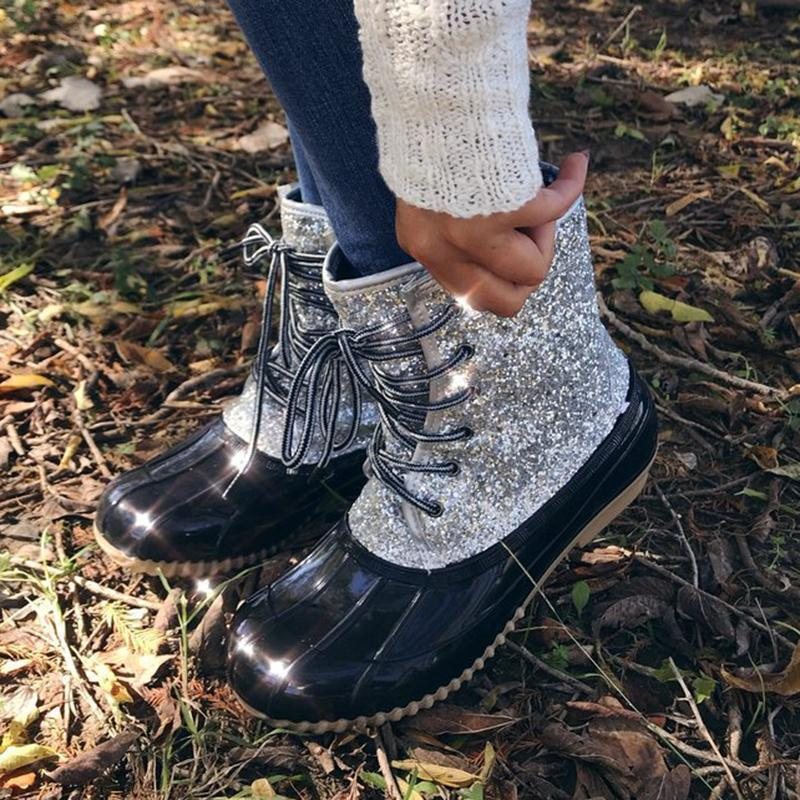 Paillette Lace-up Glitter Duck Boots Waterproof Ankle Boots