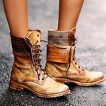 Women's Classic Lace-Up Low-Heel Martin Boots