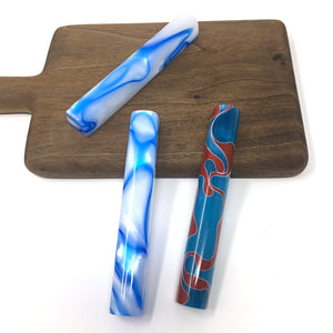 Blue and Red Swirl Mezuzah Case (acrylic)
