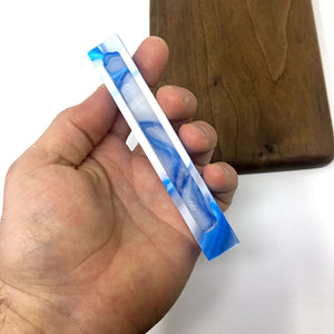 Blue and White Swirl Mezuzah Case (Acrylic)