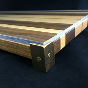Striped Challah Board with Brass Feet (Black Walnut and Hard Maple)