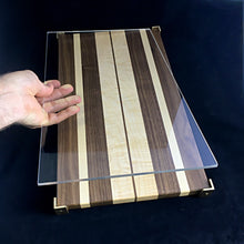 Load image into Gallery viewer, Striped Challah Board with Brass Feet (Black Walnut and Hard Maple)