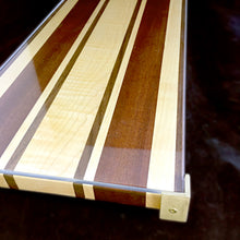 Load image into Gallery viewer, Striped Challah Board (Black walnut, Sapele, Hard Maple and Curly Maple)