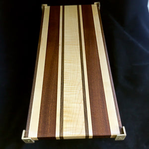 Striped Challah Board (Black walnut, Sapele, Hard Maple and Curly Maple)