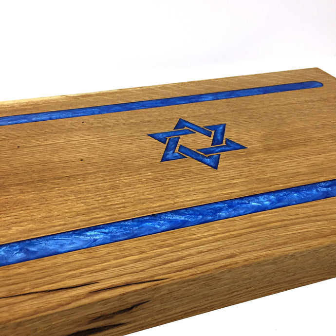 Israel flag board, oak slap, resin epoxy filled
