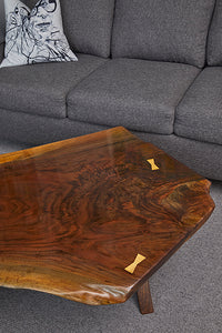 Coffee Table - black walnut, Live-Edge, waterfall