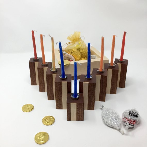 Modular Hanukkah Menorah with Storage Box (Sapele & Maple)