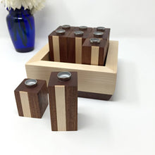 Load image into Gallery viewer, Modular Hanukkah Menorah with Storage Box (Sapele & Maple)