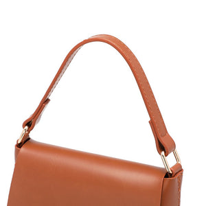 Brown faux leather metal buckle flip portable diagonal bucket bag
