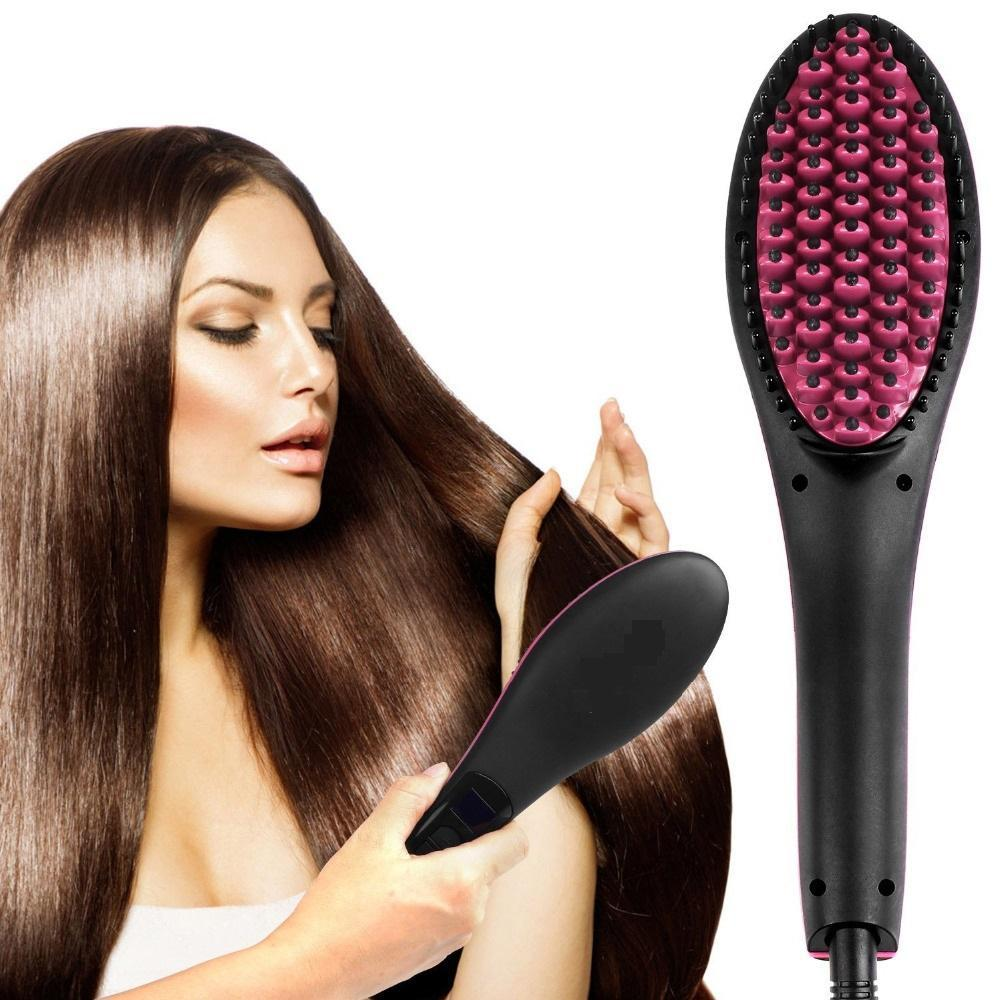Digital Control Flat Iron Heating Ionic Hair Brush - BUY 2 FREE SHIPPING