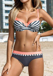 Striped Color Block Sexy Bikini Set