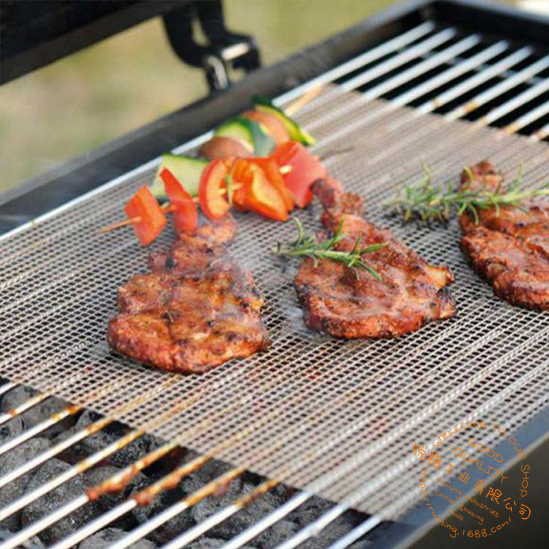 Non-stick Grid Shape BBQ Mat for Outdoor Grill Topper Mesh Net Camping Picnics Barbecue Grilling Pad Tools