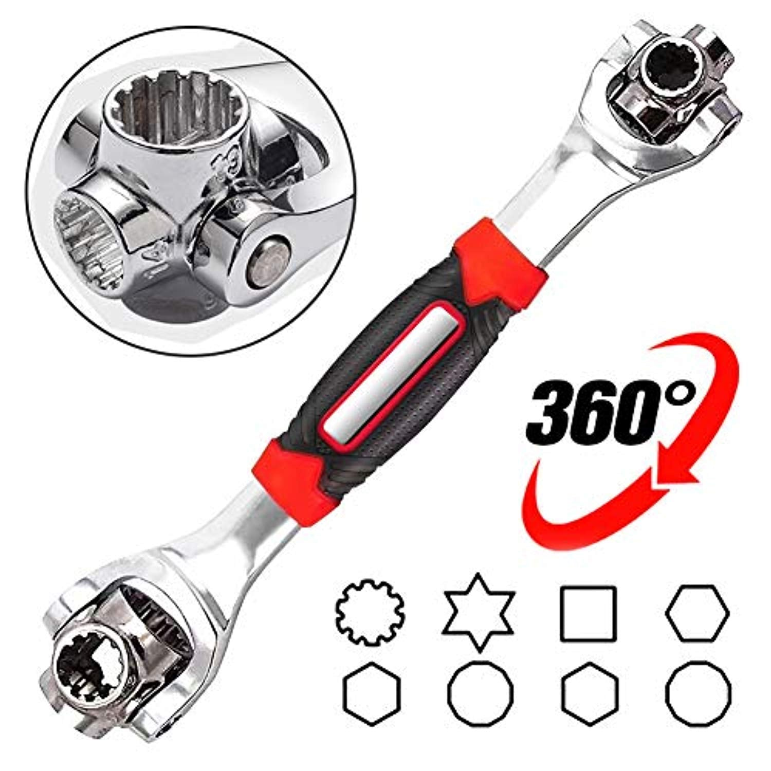 DFUTE Universal Socket Wrench,48 Tools in One Socket, Works with Spline Bolts, 6-Point, 12-Point, Torx, Square Damaged Bolts and Any Size Standard Or Metric, 360 Degree, Home and Auto Repair