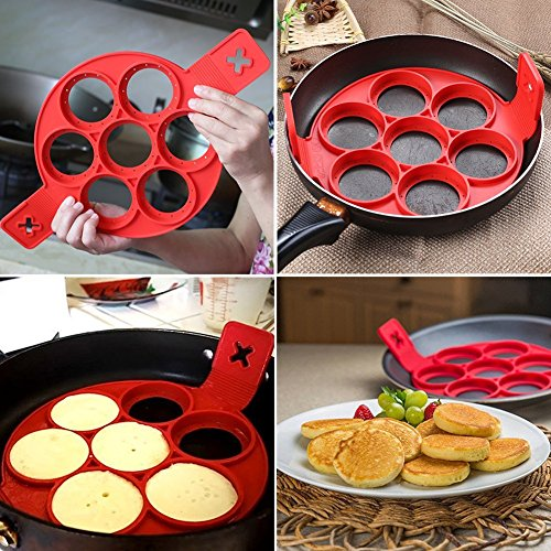 Pancake Molds Silicone 7 Circles Reusable Non Stick Egg Mold Ring Pancake