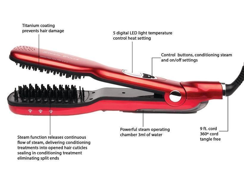 HEATED HAIR BRUSH STRAIGHTENER WITH HAIR STEAMING