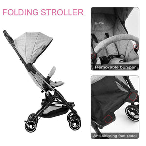 U-kiss Folding Baby Stroller Infant Convertible Baby Carriage Grey 7-36 months