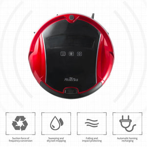 Robot Vacuum Cleaner Floor Cleaner LCD Display 1200pa Suction Slim Body  EU Plug (red)