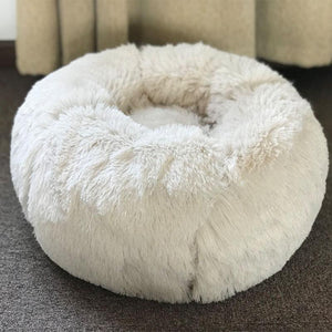 Long Plush Super Soft Pet Round Bed Kennel Dog Cat Comfortable Sleeping Cushion