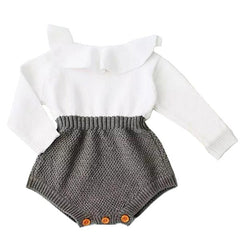 Wool Knitting - Baby Girl Romper