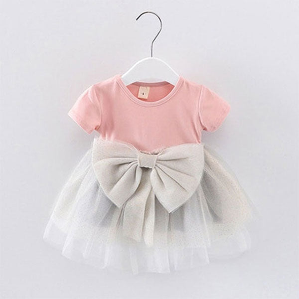 Cute Baby Frock with Bow & Mesh clothing