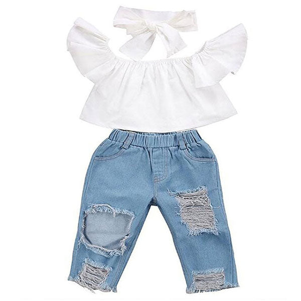 Toddler Girl 3-Piece Crop Top & Denim Pant Set