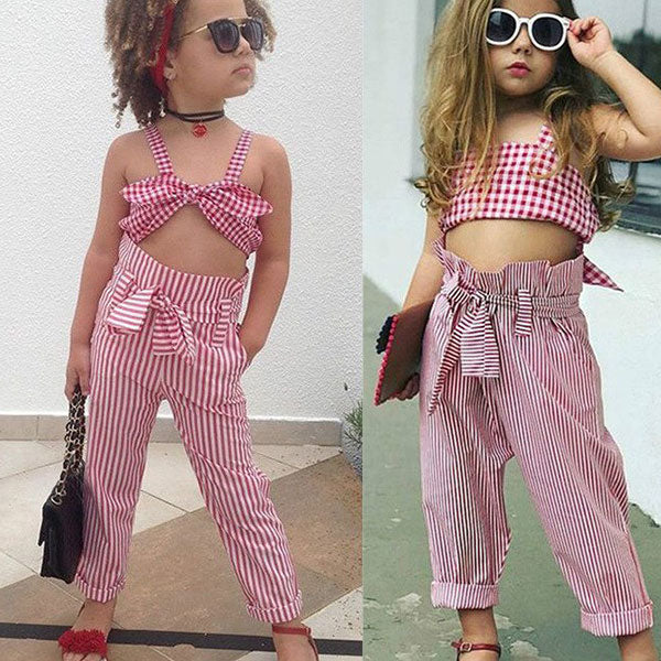 Toddler Girl Red Plaid Crop Top & Pant Set